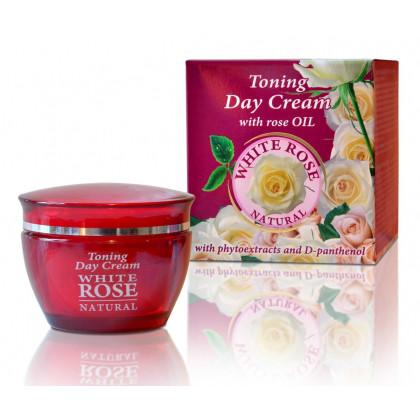 Тонизирующий дневной крем с растительными экстрактами и Д-пантенолом White Rose Natural, 50 мл. - Bulfresh, Болгария