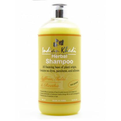 Натуральный шампунь для стимуляции роста волос с шафраном, базиликом и розовой водой, 300 мл. - Indian Khadi