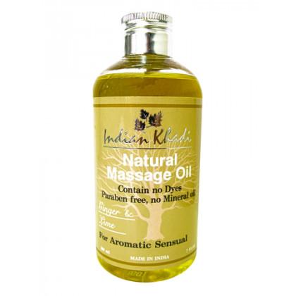 Освежающее массажное масло с Лимоном и Имбирем, 200 мл.- Indian Khadi