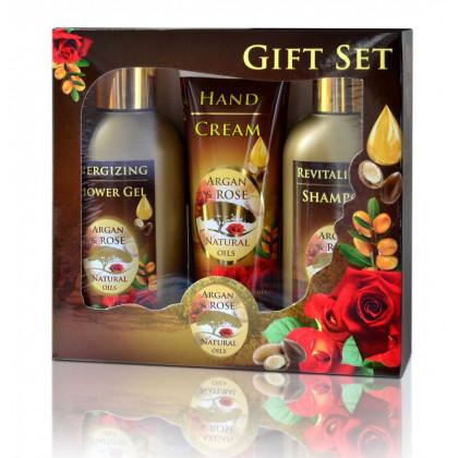 """Подарочный набор для женщин """"Роза и арган """" (шампунь, гель для душа, крем для рук)"""
