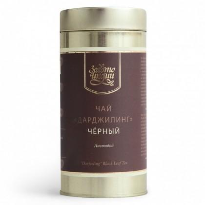 Чай «Золото Индии» Дарджилинг чёрный листовой в мет.банке, 100 гр. - Golden Tips Tea, Индия