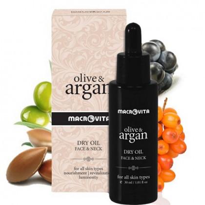 Мульти- эффективное сухое масло для лица, тела и волос OLIVE & ARGAN, 75 мл. - Macrovita Греция