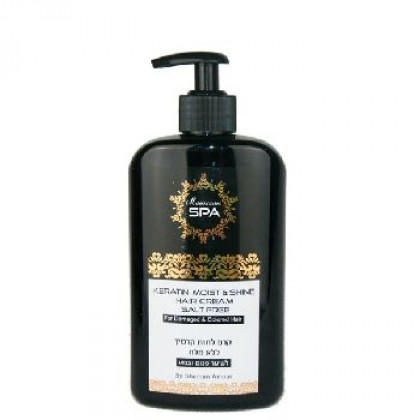 Кератиновый крем Moroccan SPA ''увлажнение и блеск'' для поврежденных волос 400 мл. - Shemen Amour, Израиль
